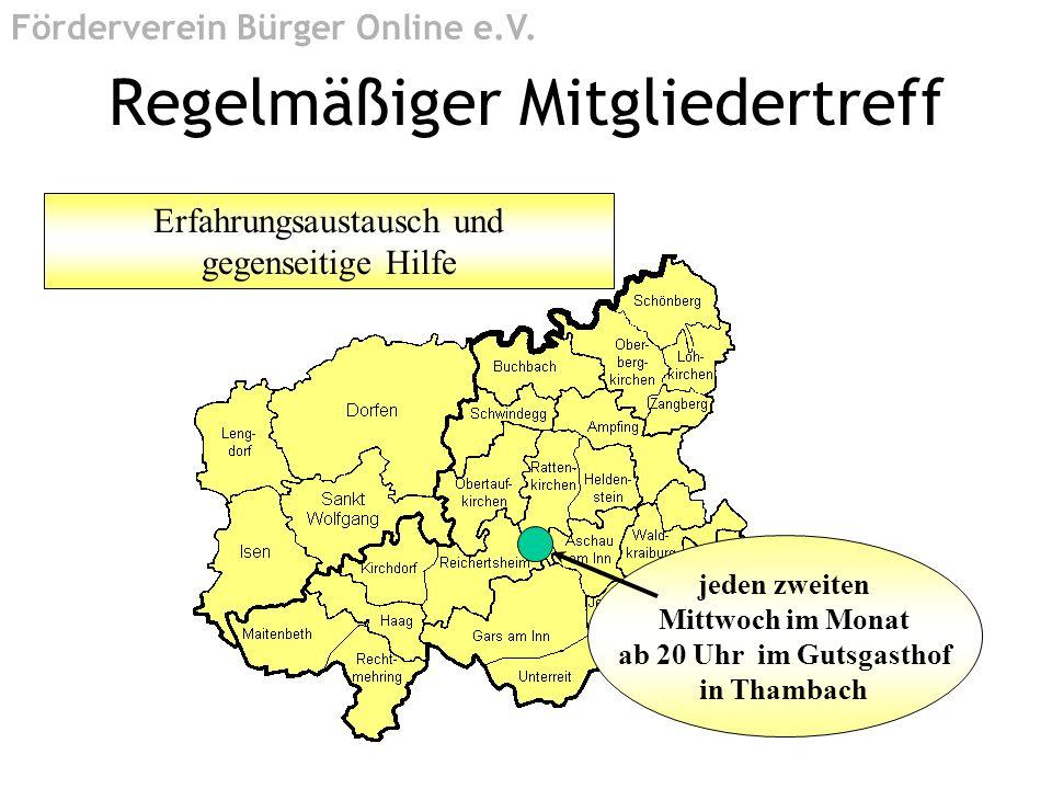 jeden zweiten Mittwoch im Monat ab 20 Uhr im Gutsgasthof in Thambach Erfahrungsaustausch und gegenseitige Hilfe Regelmäßiger Mitgliedertreff Förderver