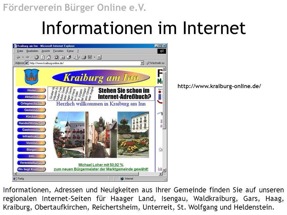 http://www.kraiburg-online.de/ Informationen im Internet Förderverein Bürger Online e.V. Informationen, Adressen und Neuigkeiten aus Ihrer Gemeinde fi