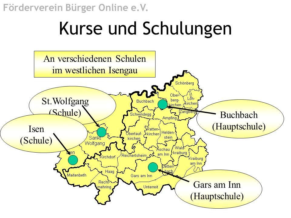 An verschiedenen Schulen im westlichen Isengau Buchbach (Hauptschule) Gars am Inn (Hauptschule) Kurse und Schulungen Förderverein Bürger Online e.V. S