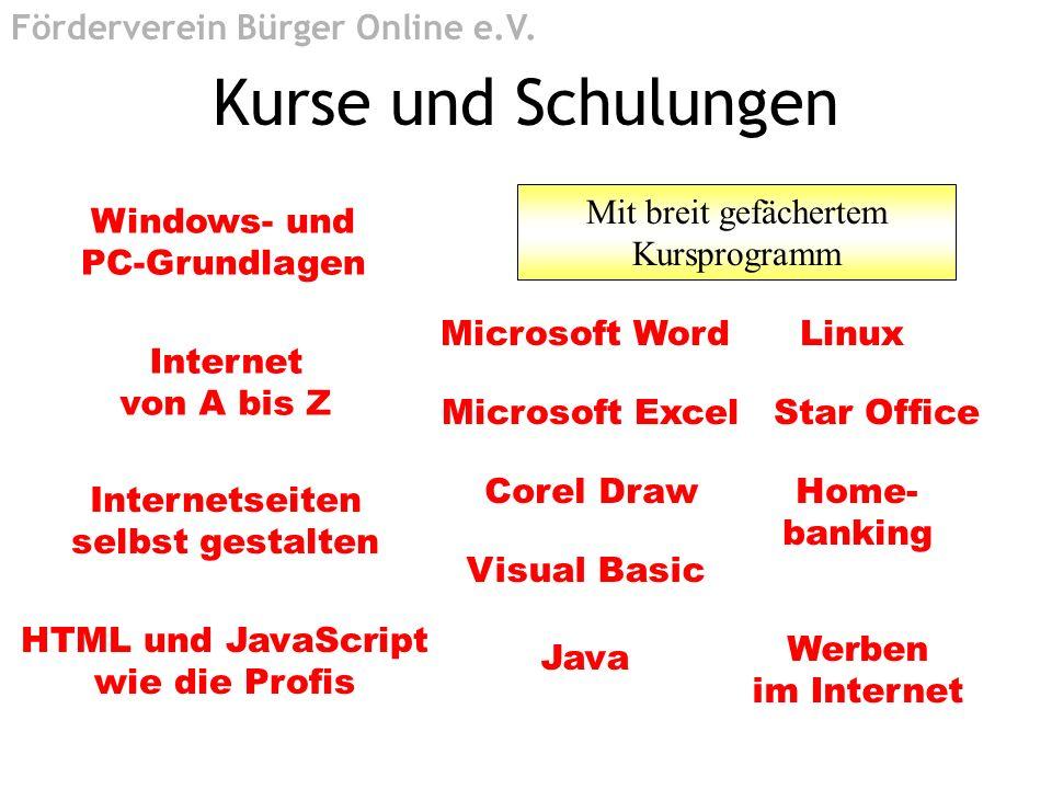 Kurse und Schulungen Internet von A bis Z Windows- und PC-Grundlagen Internetseiten selbst gestalten HTML und JavaScript wie die Profis Microsoft Word