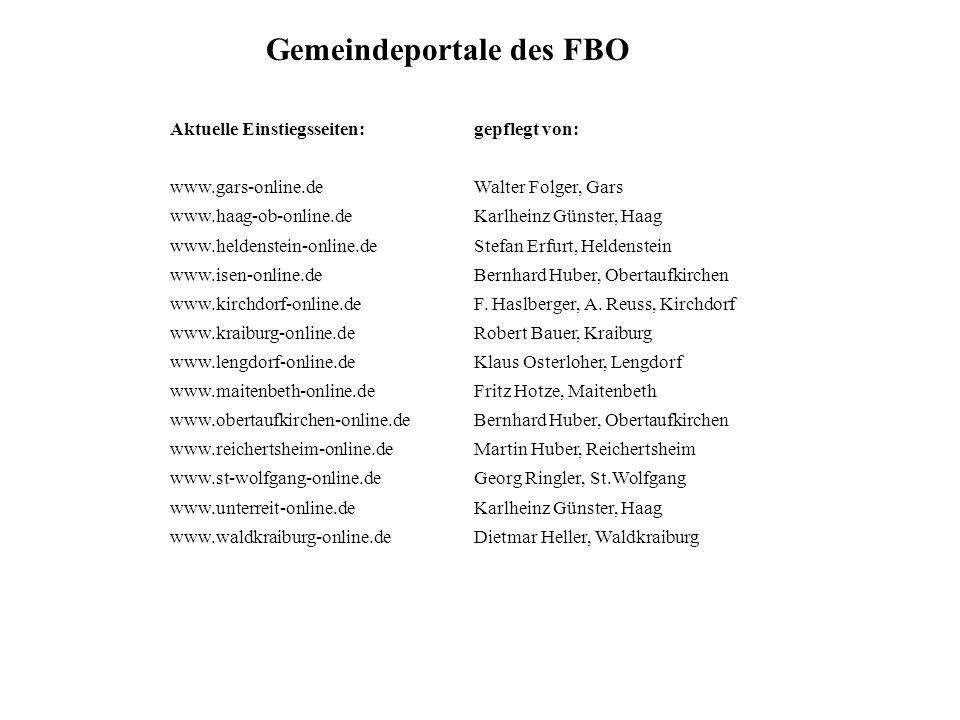 Gemeindeportale des FBO Aktuelle Einstiegsseiten: www.gars-online.de www.haag-ob-online.de www.heldenstein-online.de www.isen-online.de www.kirchdorf-