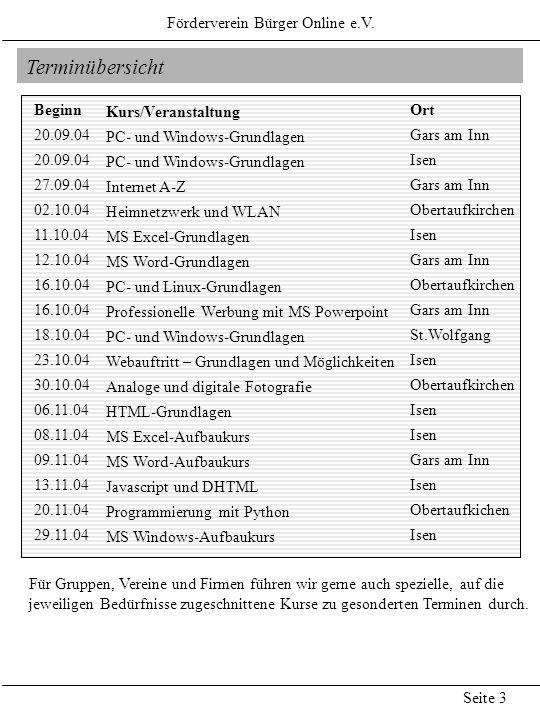 Terminübersicht Kurs/Veranstaltung PC- und Windows-Grundlagen Internet A-Z Heimnetzwerk und WLAN MS Excel-Grundlagen MS Word-Grundlagen PC- und Linux-