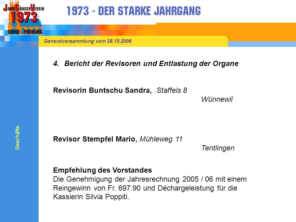 Generalversammlung vom 28.10.2006 5.Abstimmung in Bezug auf verschiedene Events mittels Stimmzetteln Sommerevents Wandern Sense-Wanderung mit anschliessendem Grillieren Geschäfte