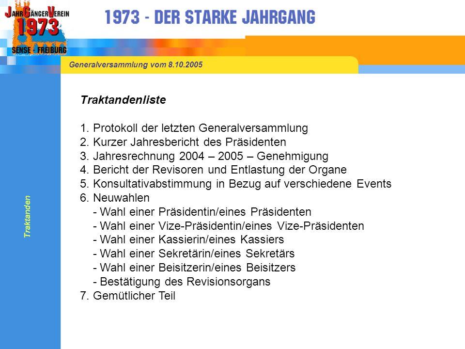 Generalversammlung vom 8.10.2005 7.Gemütlicher Teil Das Menü wird inkl.