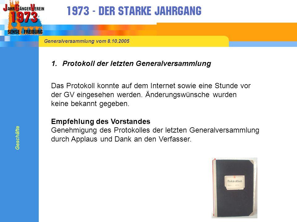 Generalversammlung vom 8.10.2005 1.Protokoll der letzten Generalversammlung Das Protokoll konnte auf dem Internet sowie eine Stunde vor der GV eingesehen werden.
