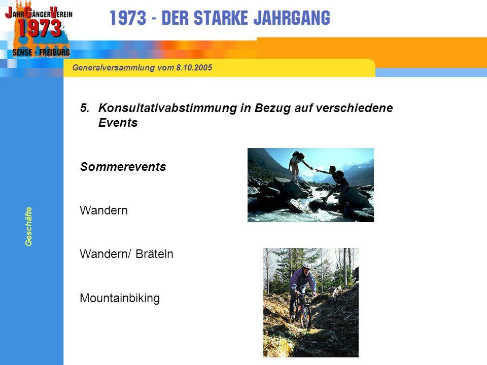 Generalversammlung vom 8.10.2005 5.Konsultativabstimmung in Bezug auf verschiedene Events Sommerevents Wandern Wandern/ Bräteln Mountainbiking Geschäfte