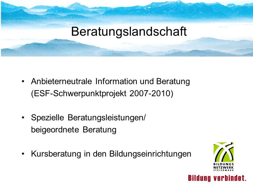 Lifelong Guidance 2007 -2010 Projektverbund Bildungsberatung (ESF): Projekte in allen Bundesländern Projektverbund – Qualitätsentwicklung Evaluierung der Teilprojekte 2009 Grundlagen und Rahmenbedingungen für längerfristige Perspektive