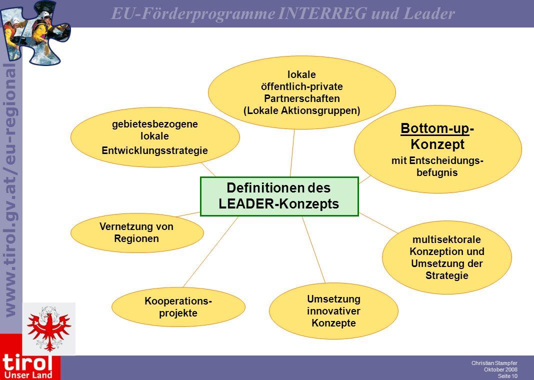www.tirol.gv.at/eu-regional EU-Förderprogramme INTERREG und Leader Christian Stampfer Oktober 2008 Seite 10 Definitionen des LEADER-Konzepts gebietesb