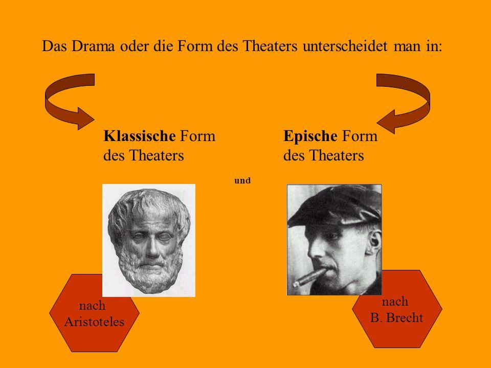 Das Drama oder die Form des Theaters unterscheidet man in: Klassische Form des Theaters und Epische Form des Theaters nach Aristoteles nach B. Brecht