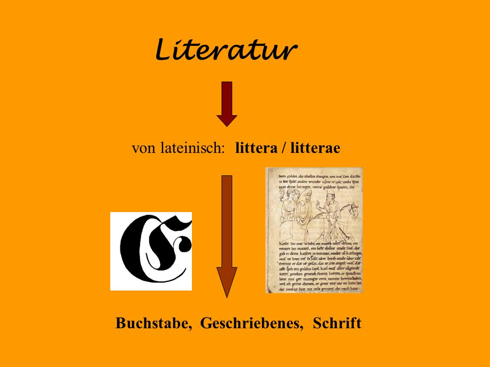 Buchstabe, Geschriebenes, Schrift Literatur von lateinisch: littera / litterae