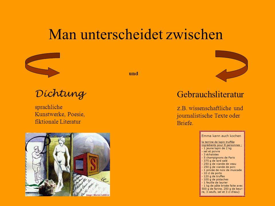 Man unterscheidet zwischen Dichtung sprachliche Kunstwerke, Poesie, fiktionale Literatur und Gebrauchsliteratur z. B. wissenschaftliche und journalist