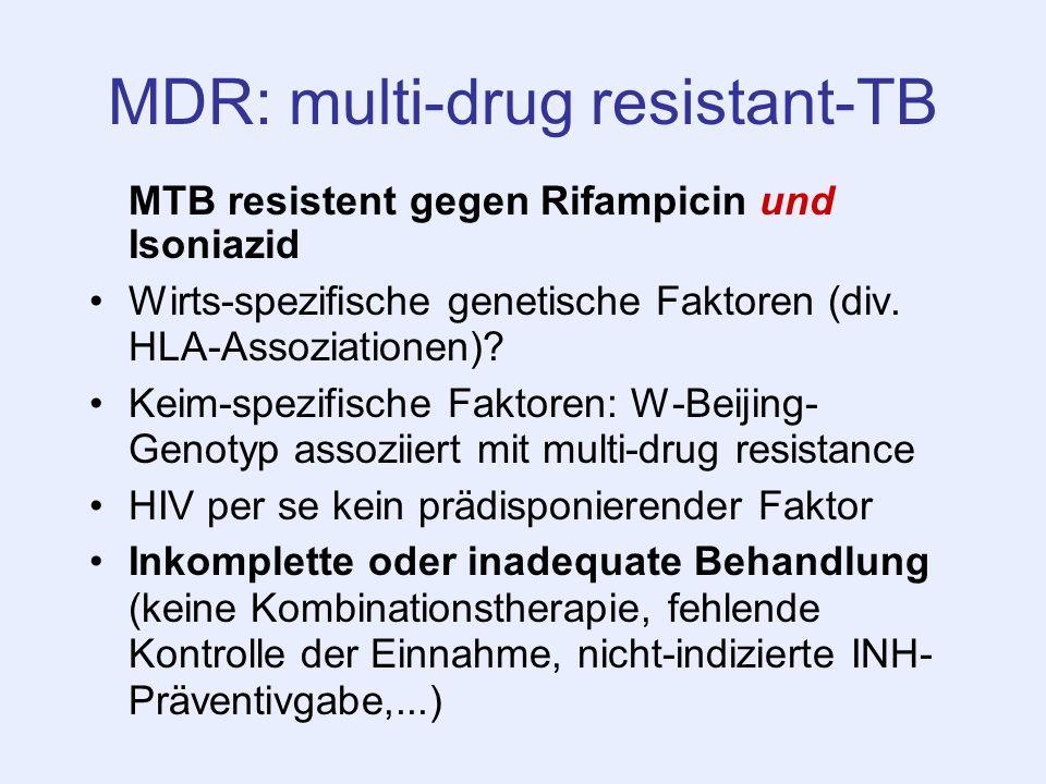MDR: multi-drug resistant-TB MTB resistent gegen Rifampicin und Isoniazid Wirts-spezifische genetische Faktoren (div. HLA-Assoziationen)? Keim-spezifi