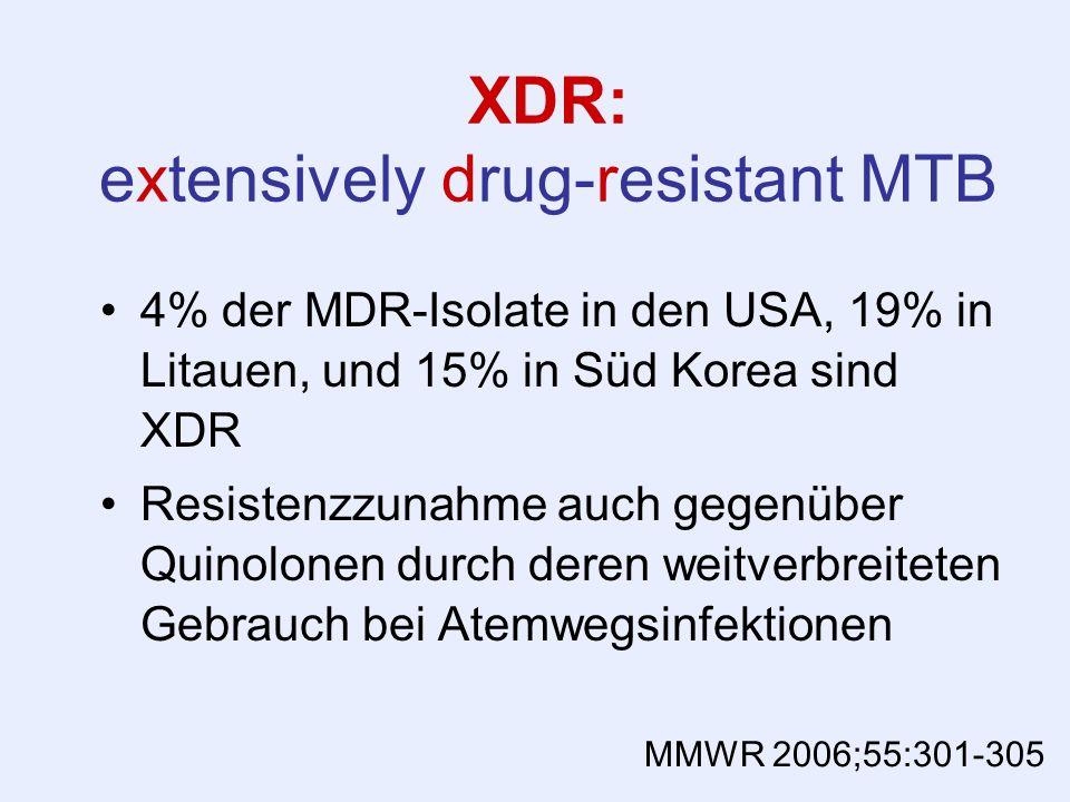 XDR: extensively drug-resistant MTB 4% der MDR-Isolate in den USA, 19% in Litauen, und 15% in Süd Korea sind XDR Resistenzzunahme auch gegenüber Quino