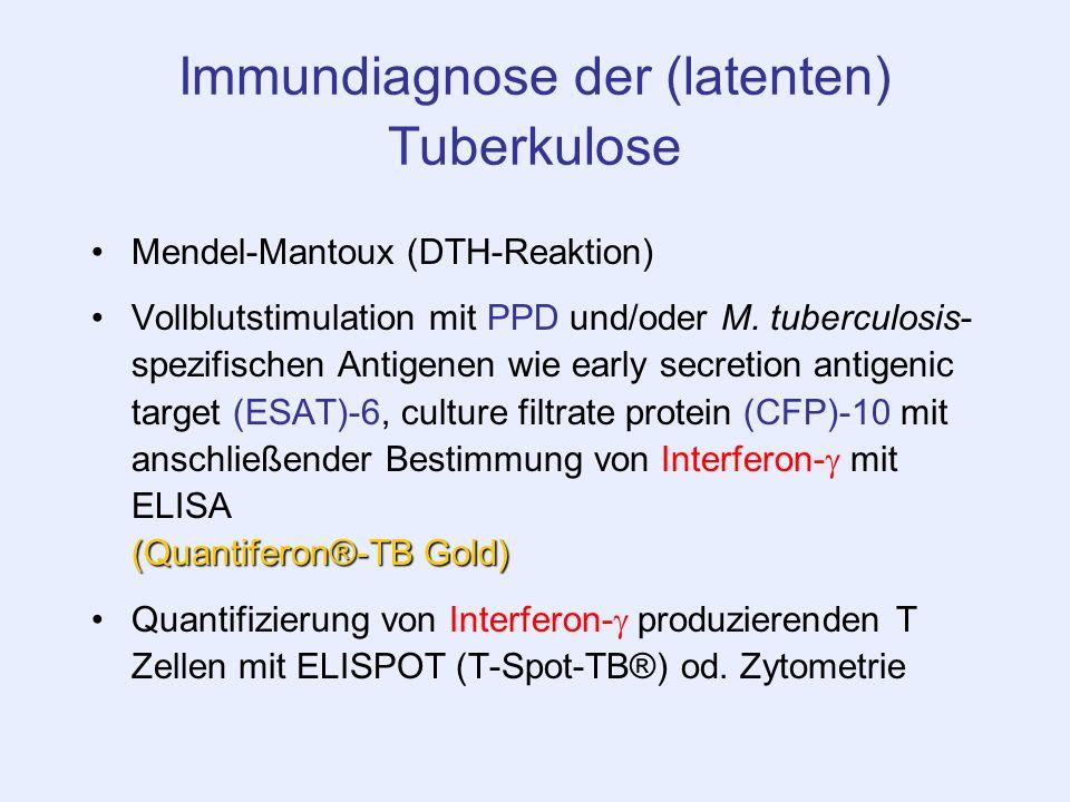 Immundiagnose der (latenten) Tuberkulose Mendel-Mantoux (DTH-Reaktion) (Quantiferon®-TB Gold)Vollblutstimulation mit PPD und/oder M. tuberculosis- spe