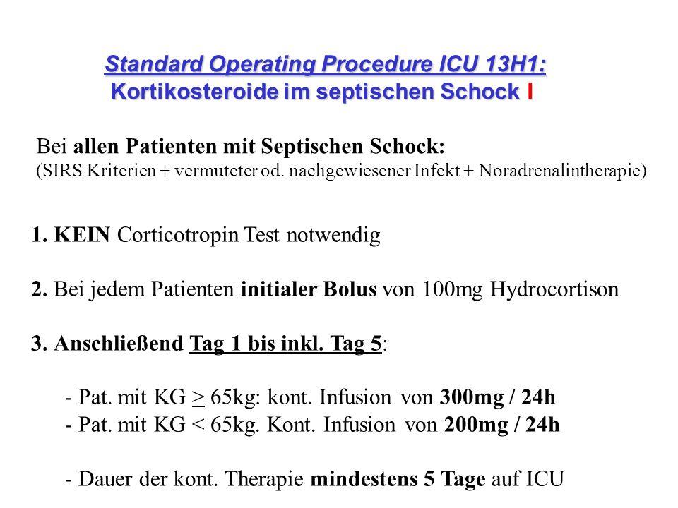 1. KEIN Corticotropin Test notwendig 2. Bei jedem Patienten initialer Bolus von 100mg Hydrocortison 3. Anschließend Tag 1 bis inkl. Tag 5: - Pat. mit