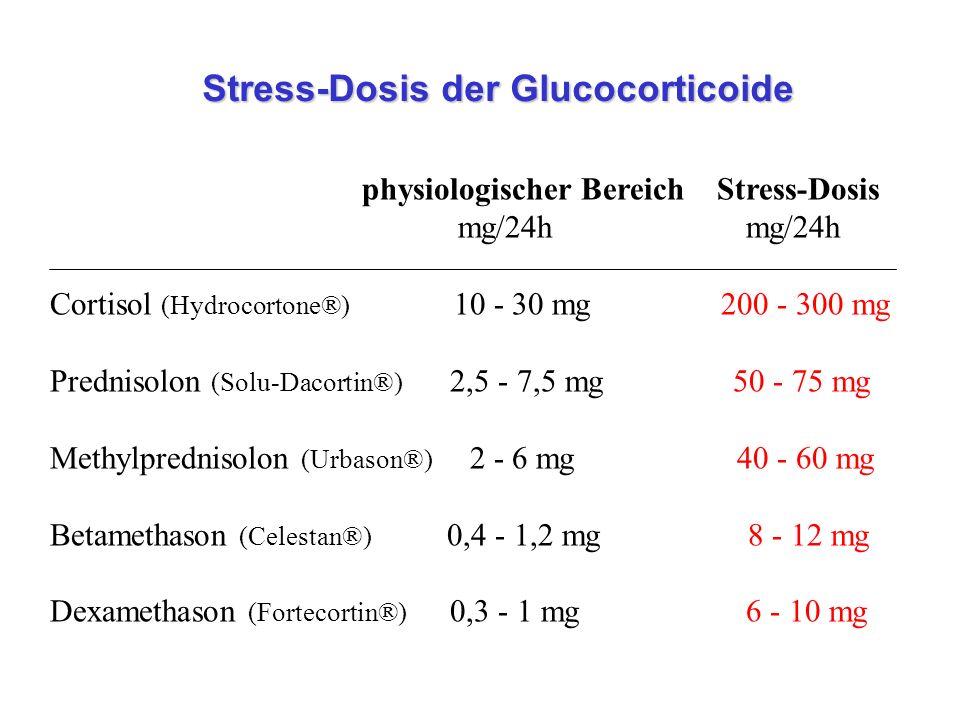 Stress-Dosis der Glucocorticoide Stress-Dosis der Glucocorticoide physiologischer Bereich Stress-Dosis mg/24h Cortisol (Hydrocortone®) 10 - 30 mg 200