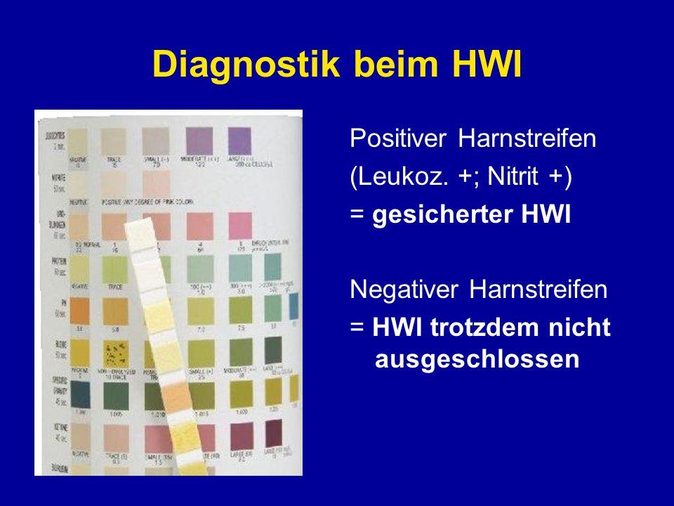 Diagnostik beim HWI Positiver Harnstreifen (Leukoz. +; Nitrit +) = gesicherter HWI Negativer Harnstreifen = HWI trotzdem nicht ausgeschlossen