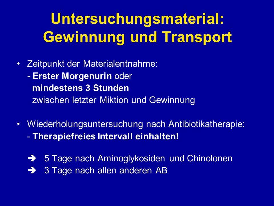 Untersuchungsmaterial: Gewinnung und Transport Zeitpunkt der Materialentnahme: - Erster Morgenurin oder mindestens 3 Stunden zwischen letzter Miktion