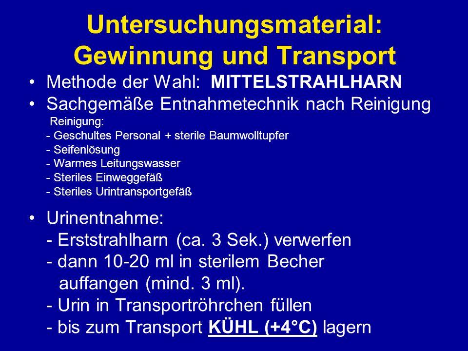Untersuchungsmaterial: Gewinnung und Transport Methode der Wahl: MITTELSTRAHLHARN Sachgemäße Entnahmetechnik nach Reinigung Reinigung: - Geschultes Pe