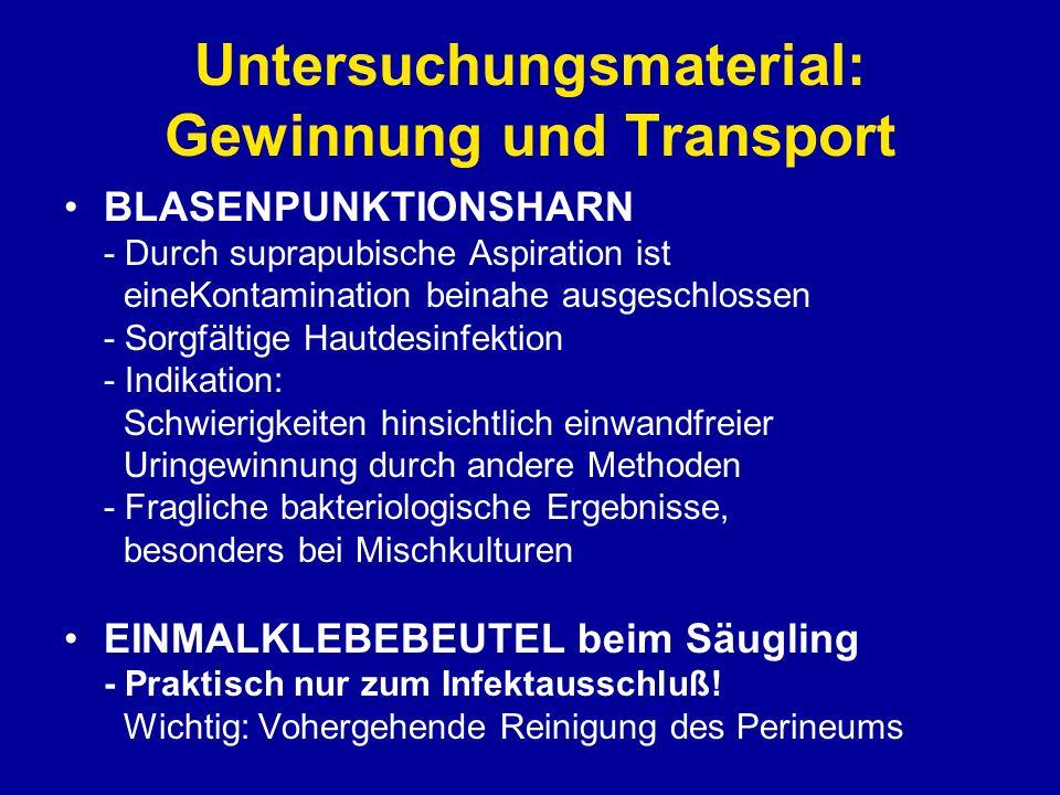 Untersuchungsmaterial: Gewinnung und Transport BLASENPUNKTIONSHARN - Durch suprapubische Aspiration ist eineKontamination beinahe ausgeschlossen - Sor