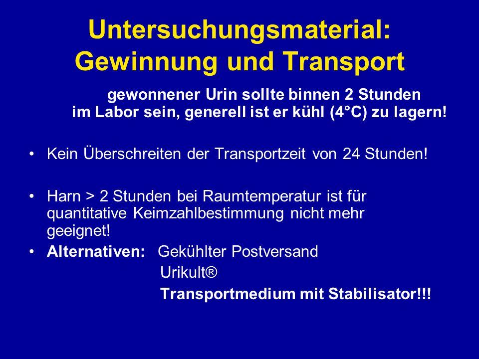 Untersuchungsmaterial: Gewinnung und Transport Der gewonnener Urin sollte binnen 2 Stunden im Labor sein, generell ist er kühl (4°C) zu lagern! Kein Ü
