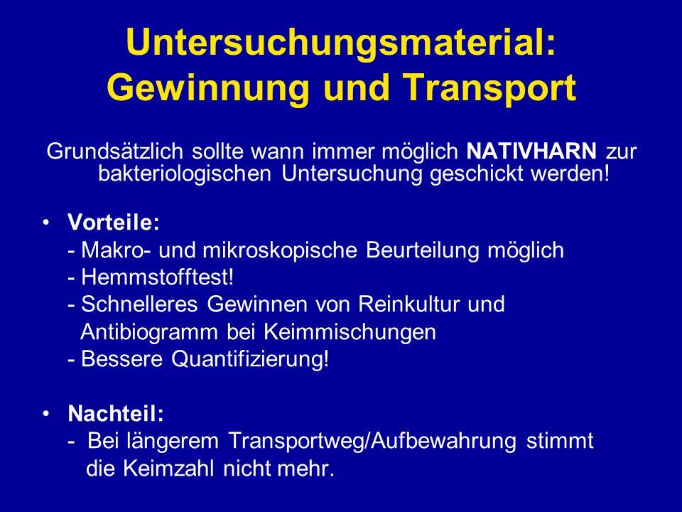 Untersuchungsmaterial: Gewinnung und Transport Grundsätzlich sollte wann immer möglich NATIVHARN zur bakteriologischen Untersuchung geschickt werden!