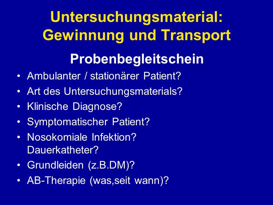 Untersuchungsmaterial: Gewinnung und Transport Probenbegleitschein Ambulanter / stationärer Patient? Art des Untersuchungsmaterials? Klinische Diagnos