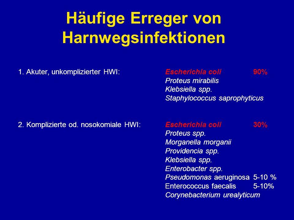 Häufige Erreger von Harnwegsinfektionen 1. Akuter, unkomplizierter HWI:Escherichia coli 90% Proteus mirabilis Klebsiella spp. Staphylococcus saprophyt