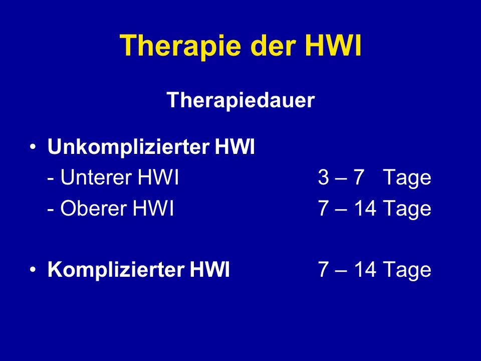 Therapie der HWI Therapiedauer Unkomplizierter HWI - Unterer HWI3 – 7 Tage - Oberer HWI7 – 14 Tage Komplizierter HWI7 – 14 Tage
