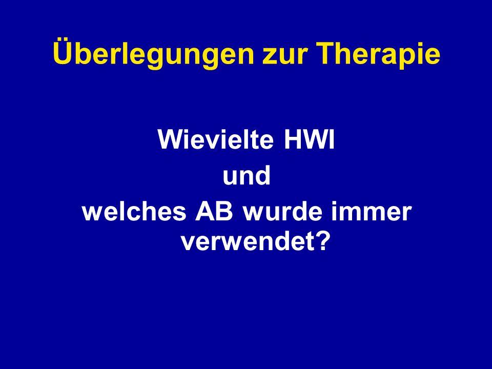Überlegungen zur Therapie Wievielte HWI und welches AB wurde immer verwendet?