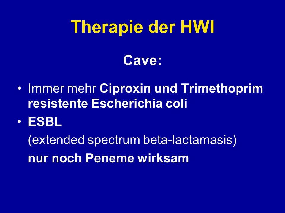 Therapie der HWI Cave: Immer mehr Ciproxin und Trimethoprim resistente Escherichia coli ESBL (extended spectrum beta-lactamasis) nur noch Peneme wirks