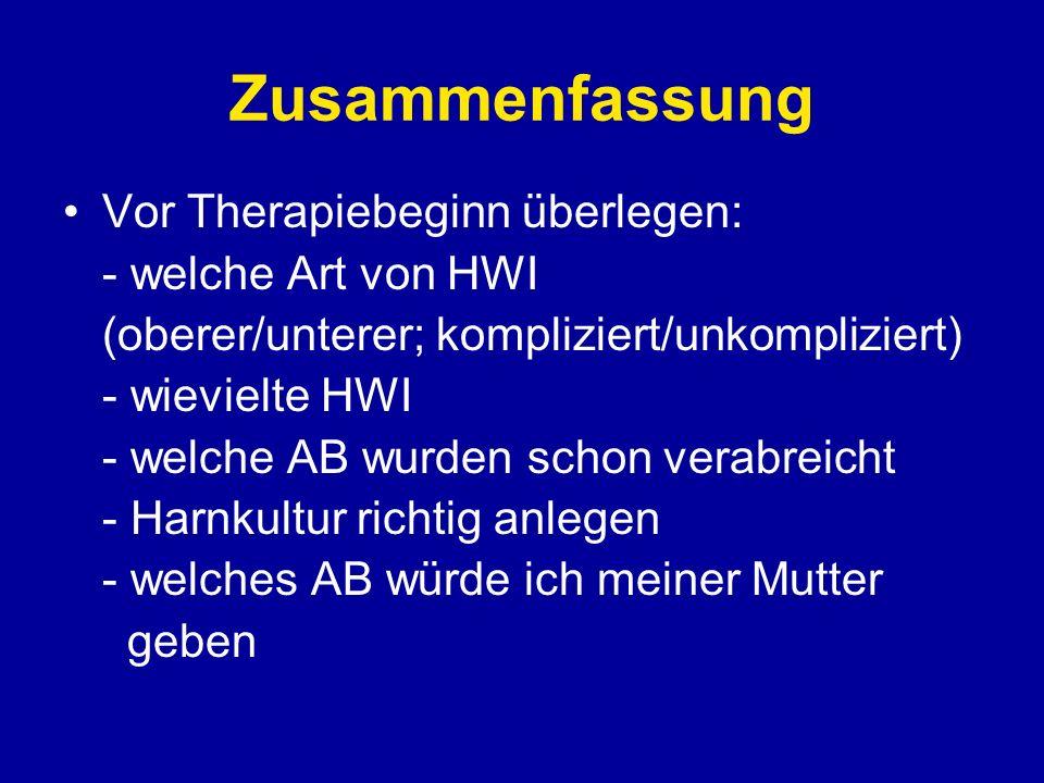 Zusammenfassung Vor Therapiebeginn überlegen: - welche Art von HWI (oberer/unterer; kompliziert/unkompliziert) - wievielte HWI - welche AB wurden scho