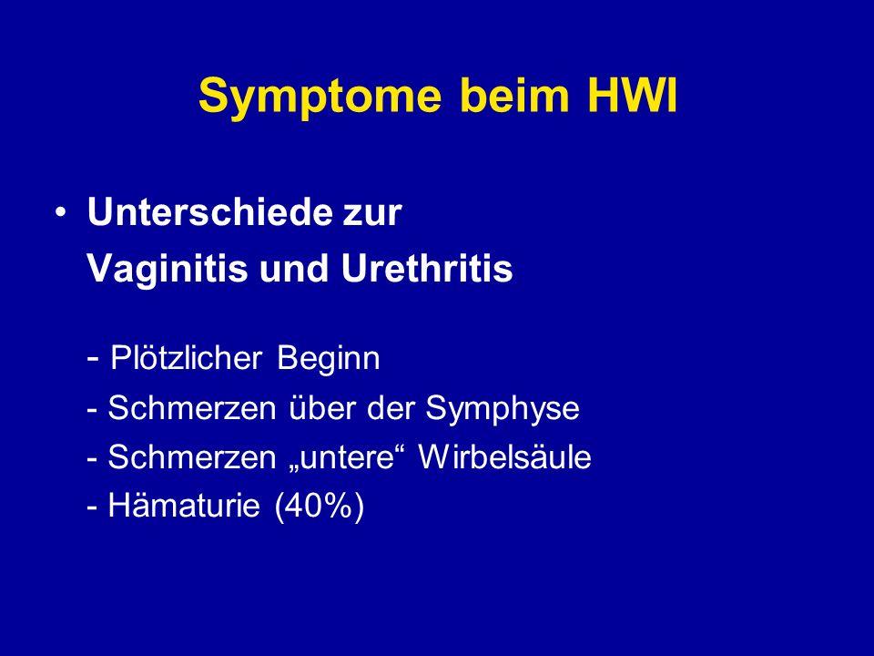 Symptome beim HWI Unterschiede zur Vaginitis und Urethritis - Plötzlicher Beginn - Schmerzen über der Symphyse - Schmerzen untere Wirbelsäule - Hämatu