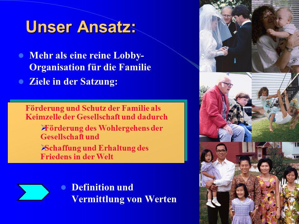 Unser Ansatz: Mehr als eine reine Lobby- Organisation für die Familie Ziele in der Satzung: Definition und Vermittlung von Werten Förderung und Schutz