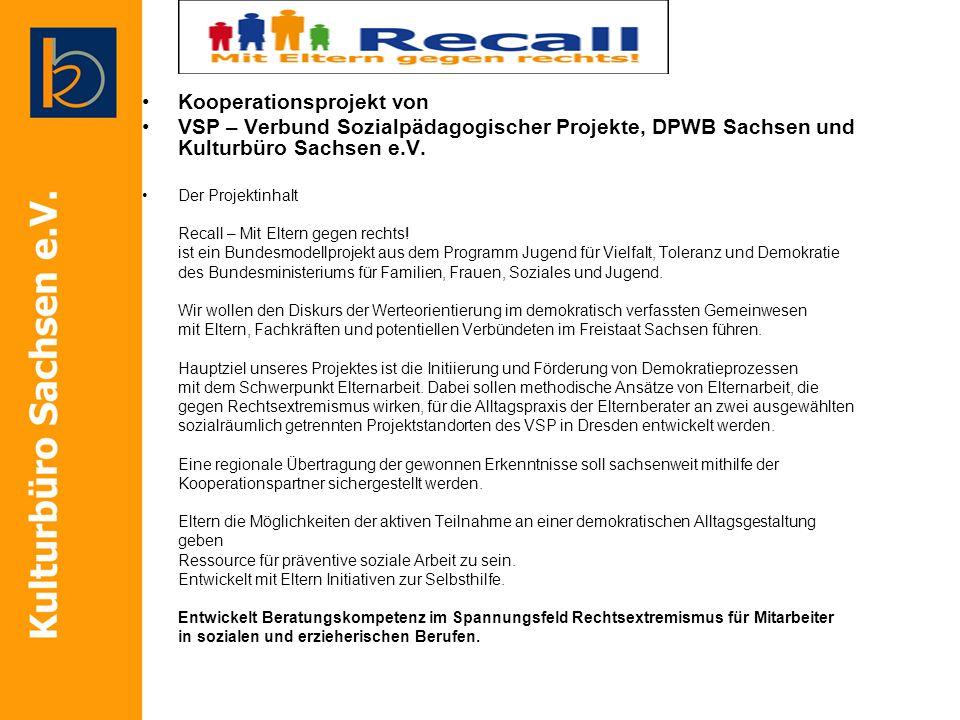 Kooperationsprojekt von VSP – Verbund Sozialpädagogischer Projekte, DPWB Sachsen und Kulturbüro Sachsen e.V. Der Projektinhalt Recall – Mit Eltern geg