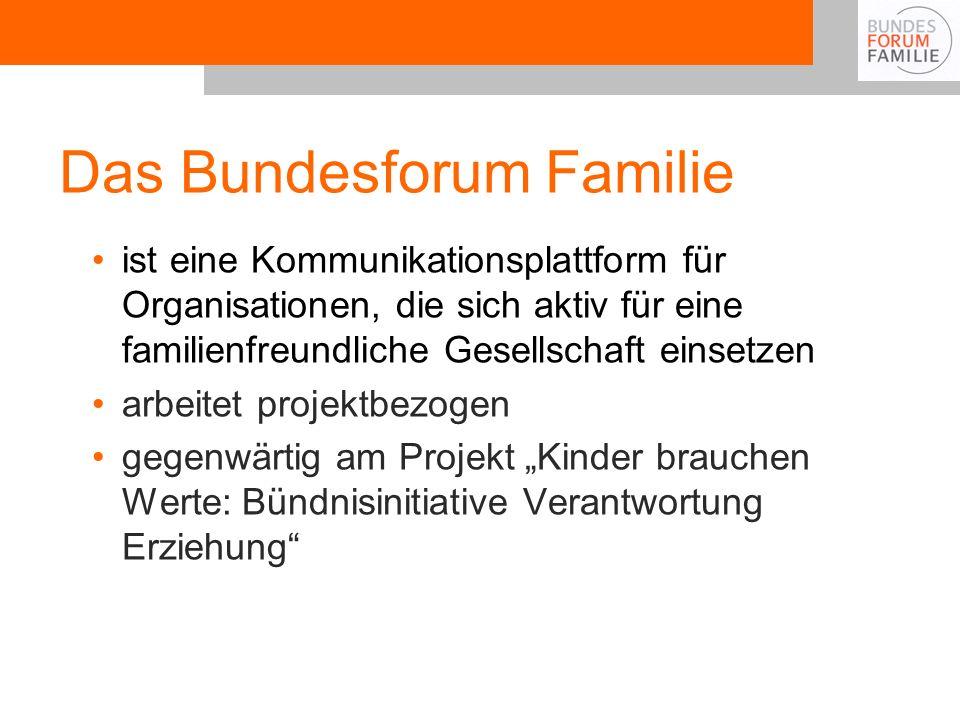 Das Bundesforum Familie ist eine Kommunikationsplattform für Organisationen, die sich aktiv für eine familienfreundliche Gesellschaft einsetzen arbeit