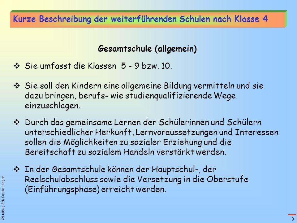 © Ludwig-Erk-Schule Langen Kurze Beschreibung der weiterführenden Schulen nach Klasse 4 Gesamtschule (allgemein) Sie umfasst die Klassen 5 - 9 bzw. 10