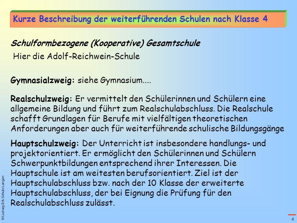 © Ludwig-Erk-Schule Langen Schulformbezogene (Kooperative) Gesamtschule Gymnasialzweig: siehe Gymnasium.... Realschulzweig: Er vermittelt den Schüleri