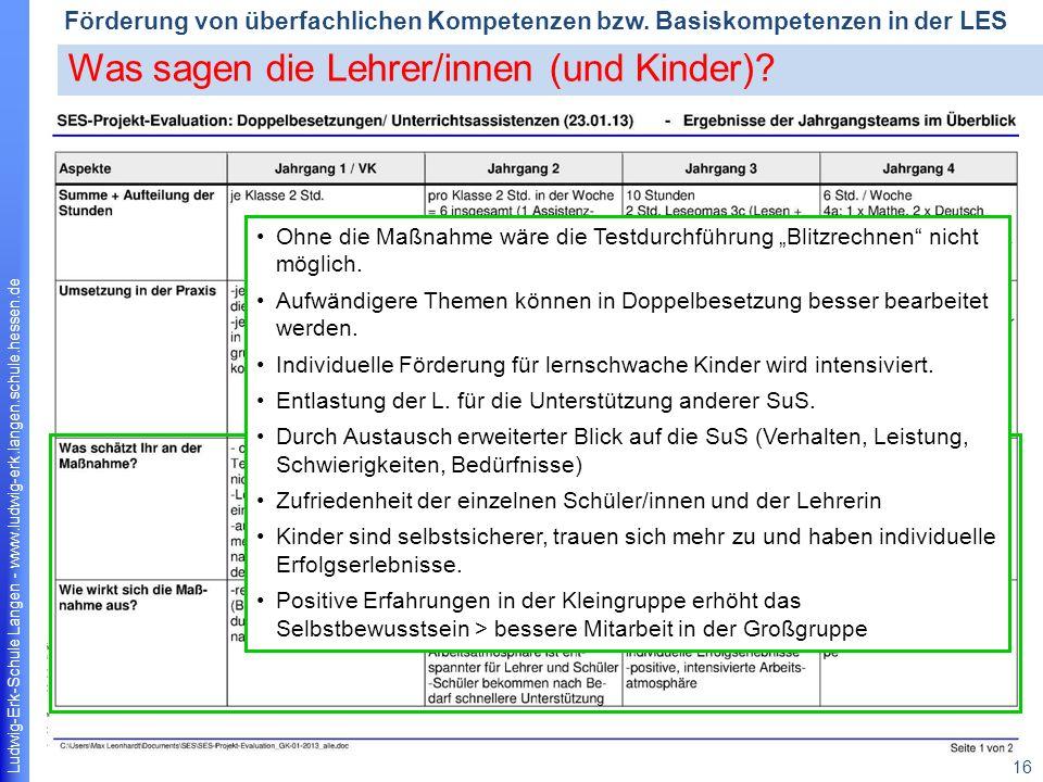Ludwig-Erk-Schule Langen - www.ludwig-erk.langen.schule.hessen.de 16 Förderung von überfachlichen Kompetenzen bzw.