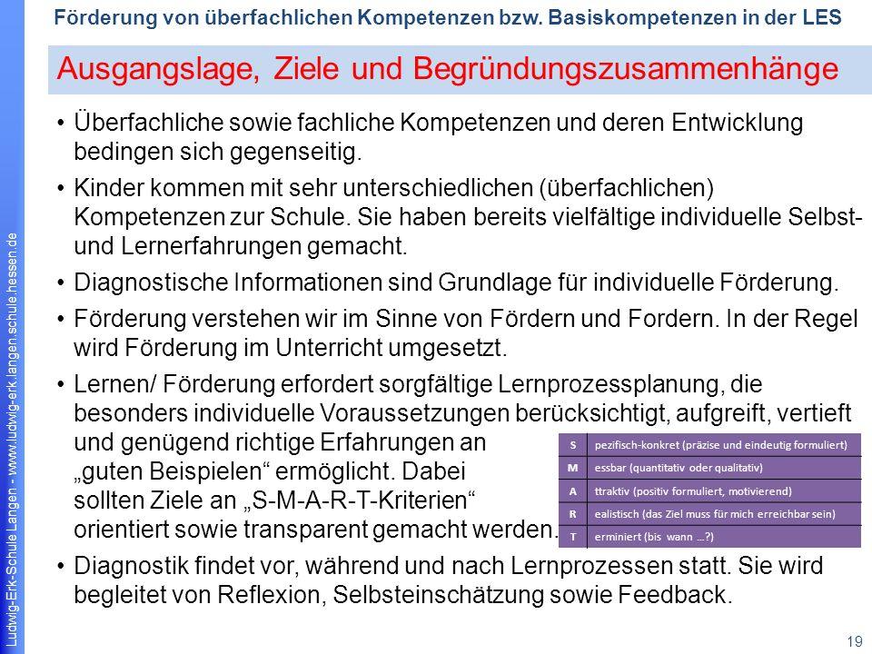 Ludwig-Erk-Schule Langen - www.ludwig-erk.langen.schule.hessen.de 19 Förderung von überfachlichen Kompetenzen bzw.