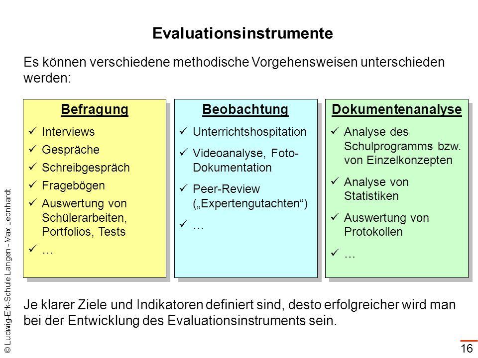 © Ludwig-Erk-Schule Langen - Max Leonhardt 16 Evaluationsinstrumente Befragung Interviews Gespräche Schreibgespräch Fragebögen Auswertung von Schülera