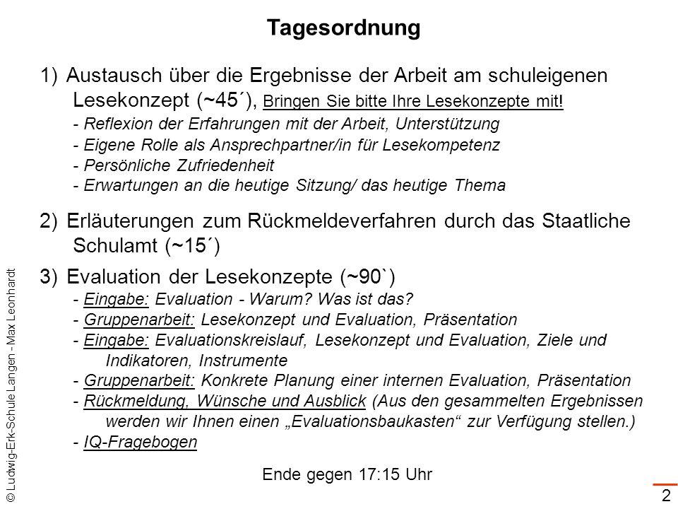 © Ludwig-Erk-Schule Langen - Max Leonhardt 3 1)Austausch über die Ergebnisse der Arbeit am schuleigenen Lesekonzept (~45´), Bringen Sie bitte Ihre Lesekonzepte mit.