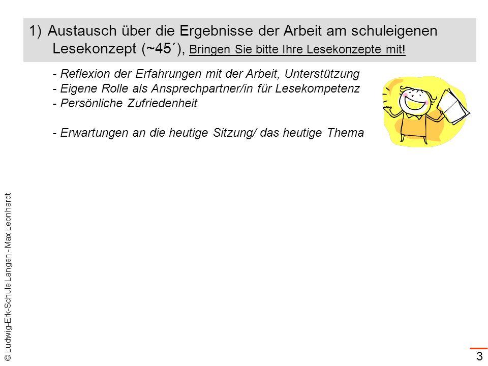 © Ludwig-Erk-Schule Langen - Max Leonhardt 3 1)Austausch über die Ergebnisse der Arbeit am schuleigenen Lesekonzept (~45´), Bringen Sie bitte Ihre Les