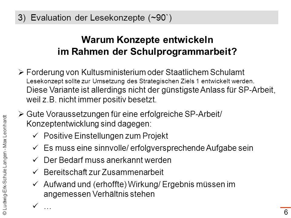 © Ludwig-Erk-Schule Langen - Max Leonhardt 6 Warum Konzepte entwickeln im Rahmen der Schulprogrammarbeit? Forderung von Kultusministerium oder Staatli