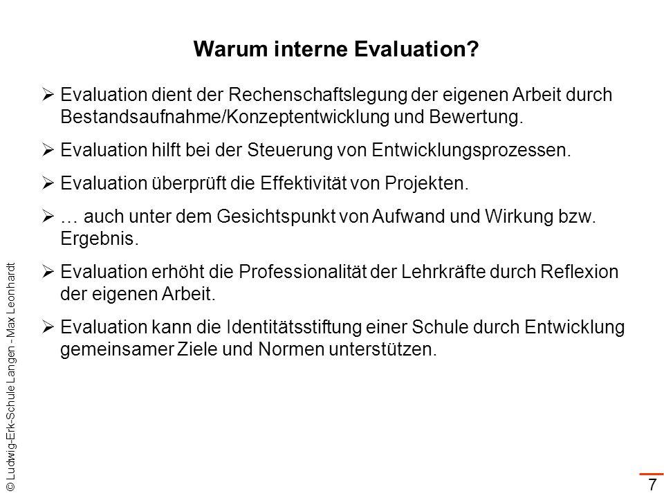 © Ludwig-Erk-Schule Langen - Max Leonhardt 7 Warum interne Evaluation? Evaluation dient der Rechenschaftslegung der eigenen Arbeit durch Bestandsaufna