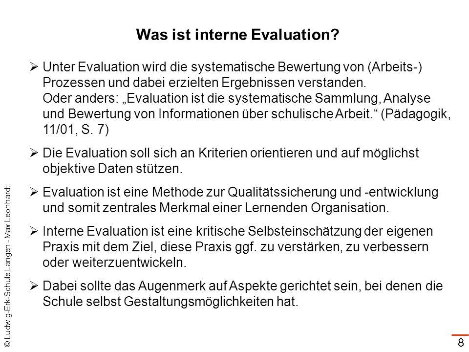 © Ludwig-Erk-Schule Langen - Max Leonhardt 8 Was ist interne Evaluation? Unter Evaluation wird die systematische Bewertung von (Arbeits-) Prozessen un
