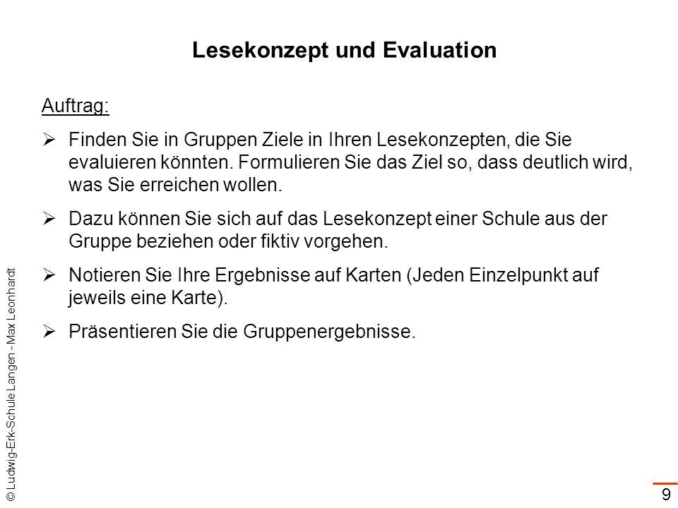 © Ludwig-Erk-Schule Langen - Max Leonhardt 9 Lesekonzept und Evaluation Auftrag: Finden Sie in Gruppen Ziele in Ihren Lesekonzepten, die Sie evaluiere