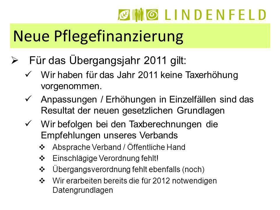 Neue Pflegefinanzierung Für das Übergangsjahr 2011 gilt: Wir haben für das Jahr 2011 keine Taxerhöhung vorgenommen.