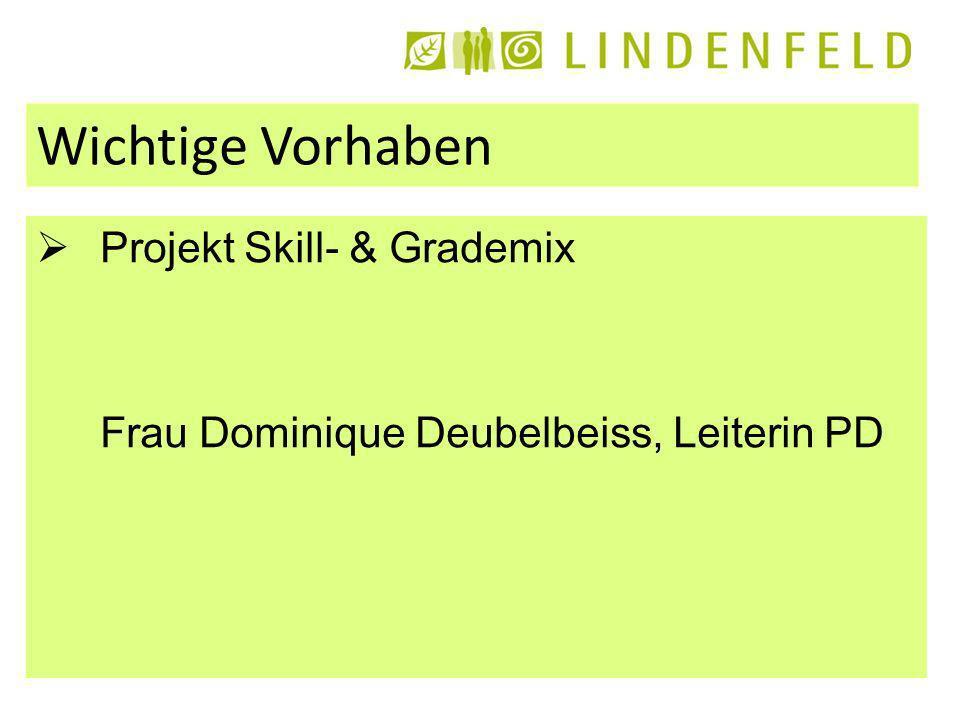 Wichtige Vorhaben Projekt Skill- & Grademix Frau Dominique Deubelbeiss, Leiterin PD