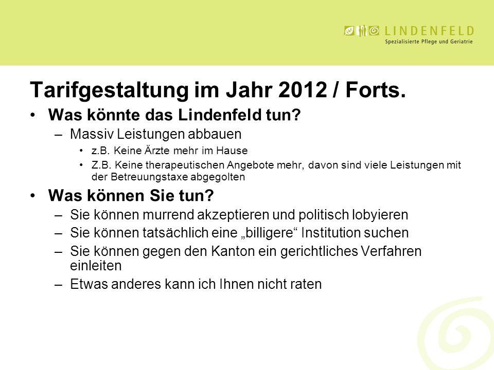 Tarifgestaltung im Jahr 2012 / Forts. Was könnte das Lindenfeld tun? –Massiv Leistungen abbauen z.B. Keine Ärzte mehr im Hause Z.B. Keine therapeutisc